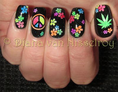 Colorful peace woodstock nails