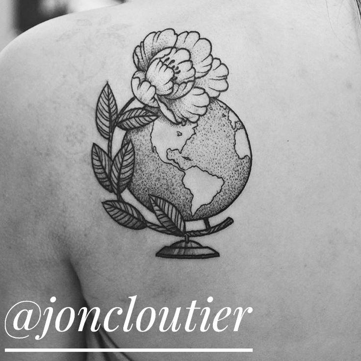 beautiful dotwork globe tattoo by Jon Cloutier