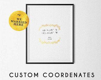 1 Year Anniversary | Custom Coordinates Sign | Latitude Longitude | Personalized Gift | Custom Coordinates Wall Art | Coordinates Sign