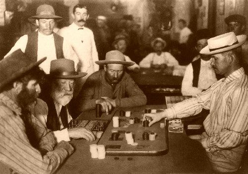 A game of faro - your bet was placed on one card - the outcome depended on which card the banker drew from the box in front of him