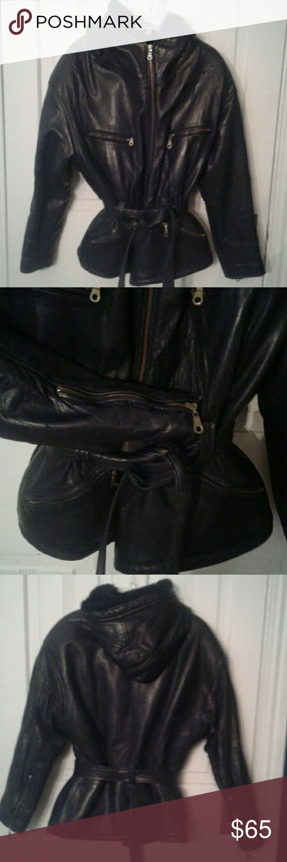 Martani Leather Coat w/Hood Gorgeous lady's leather jacket in 'EXCELLENT' condition!  Has 4 zipper pockets, and a belt. Sleeves have zippers as well.  I picked black as the color or it could pass for a very dark brown. Jackets & Coats