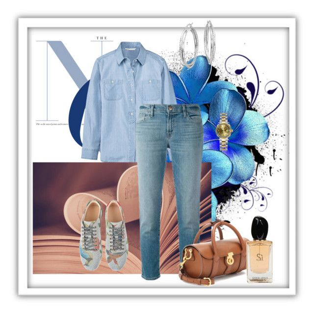 Untitled #53 by tatyxavier1980 on Polyvore featuring polyvore fashion style Woolrich J Brand Gucci Burberry Blue Nile Rolex Giorgio Armani clothing