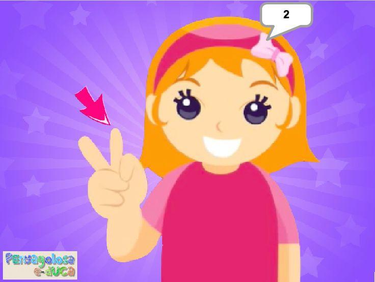ABN – CONTAR: FASES DEL CONTEO – Cuenta con la niña los dedos de una mano (1-5) – En este juego se trabaja el conteo simple, es decir, asignar un número a cada uno de los elementos que forman un determinado conjunto.