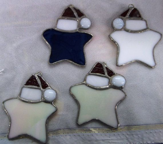 Stained Glass Christmas Santa Hat Star by NanaStainedGlass on Etsy, $5.00