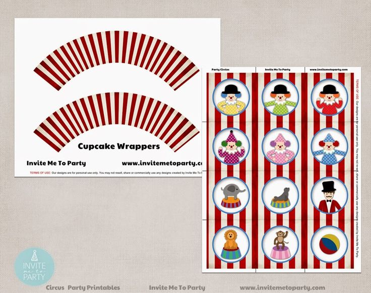 Carnival Party Decorations Printables Cupcake Wrappers And cupcake toppers Invite Me To Party: Carnival Party | Circus Party