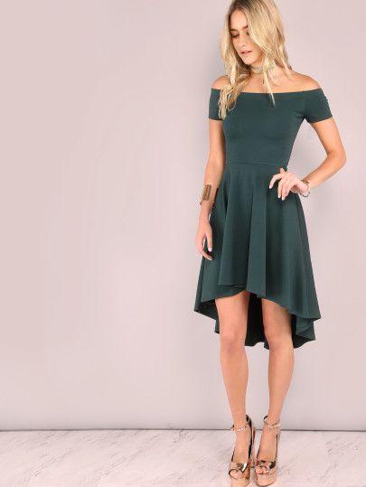 Асимметричное платье-скейтер цвета хаки