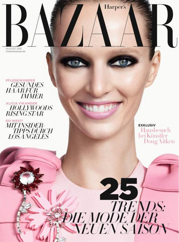 Daria Strokous by Terry Tsiolis for Harper's Bazaar Germany August 2015 cover - PRADA Fall 2015