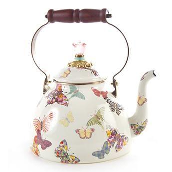 Butterfly Garden 3 Quart Tea Kettle - White