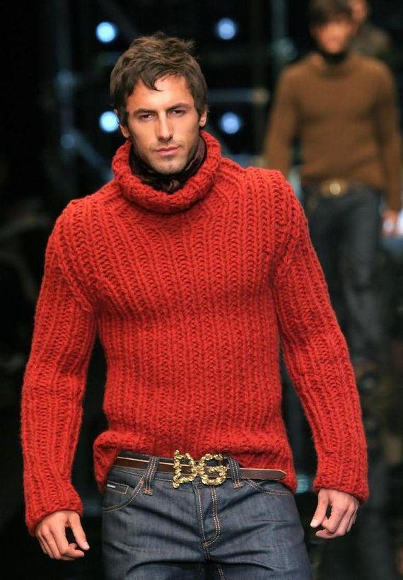 Men's chunky hand knit turtleneck pullover, BANDofTAILORS, Etsy