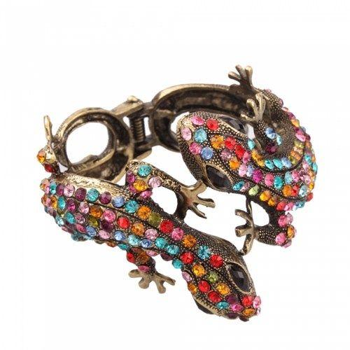 Colorful Gecko Rhinestone Bangle Bracelet | favwish - Jewelry on ArtFire