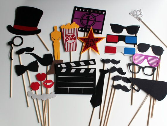 BEST Movie Photobooth Props - Hollywood Glamour Collection perfect for oscar bash, hollywood party, cinema birthday or a fun movie night