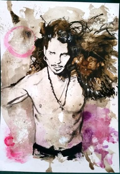 Chris Cornell pen and ink drawing. Sound Garden Audioslave