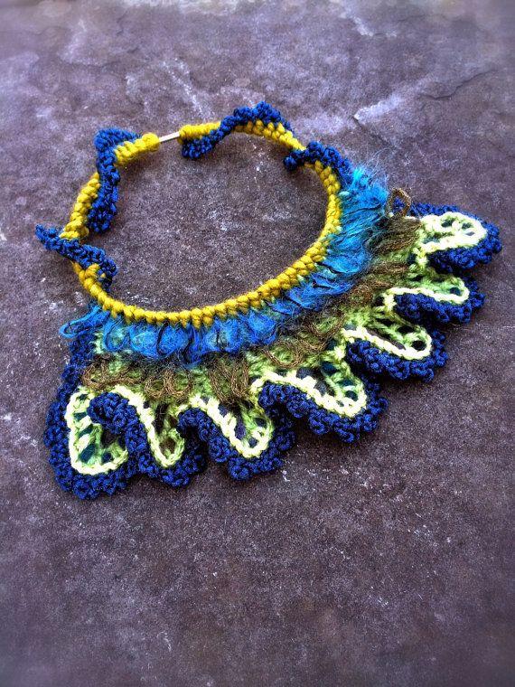 Handmade Jewelry Crochet Free Form Necklace Blue Green Peacock