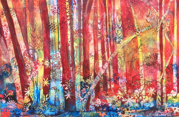 La forêt enchantée, acrylique sur toile, 24 x 36 pouces. VENDU