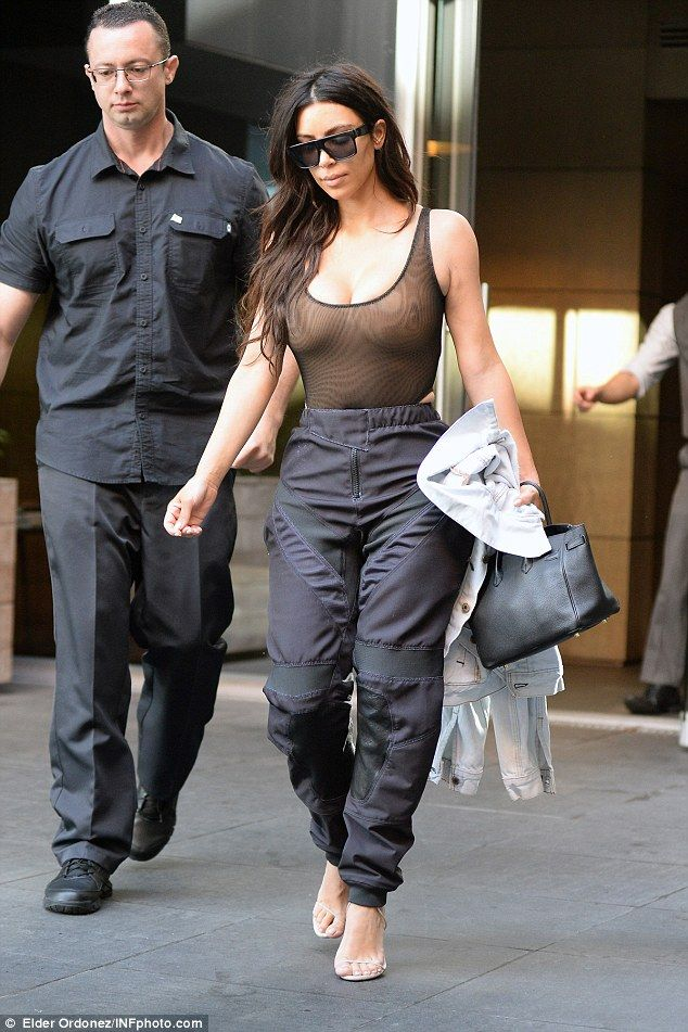abe46e02cc7ec Kim Kardashian goes braless in yet another sheer top