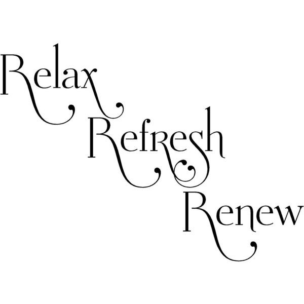Relax Refresh Renew- Bathroom-Vinyl Lettering wall words graphics... (99 RON) ❤ liked on Polyvore featuring home, home decor, wall art, words, text, quotes, backgrounds, sayings, phrase and filler