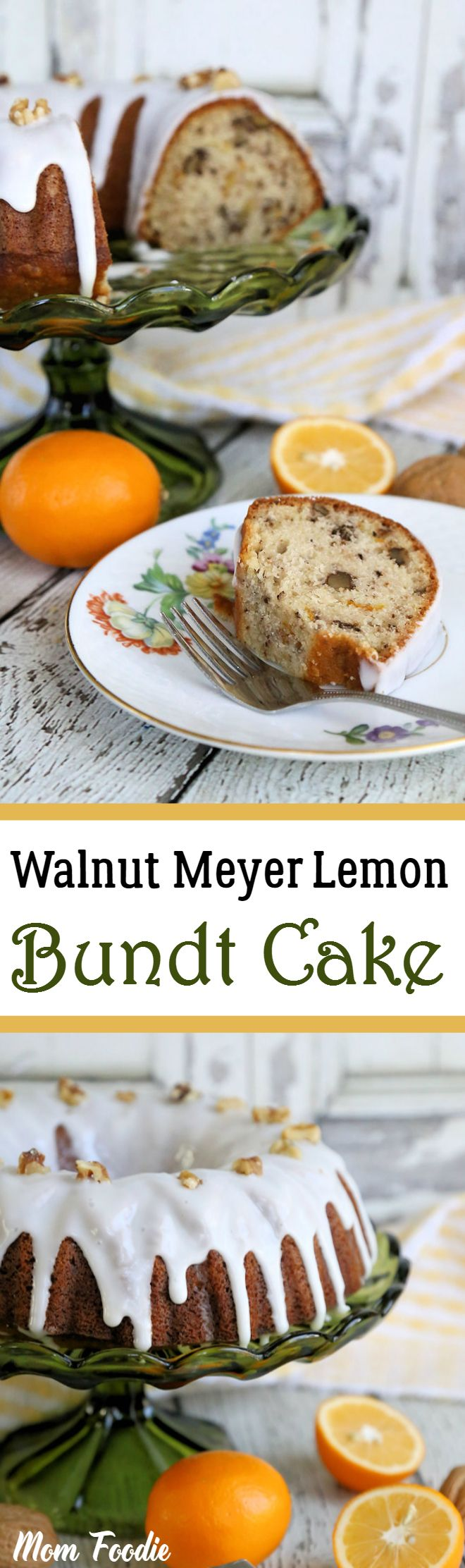 Walnut-Meyer Lemon Bundt Cake is a rich and tangy bright spot on any holiday table. #finlandiabutter #ad