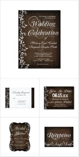 Rustic Brown Swirls Wedding Invitation Set