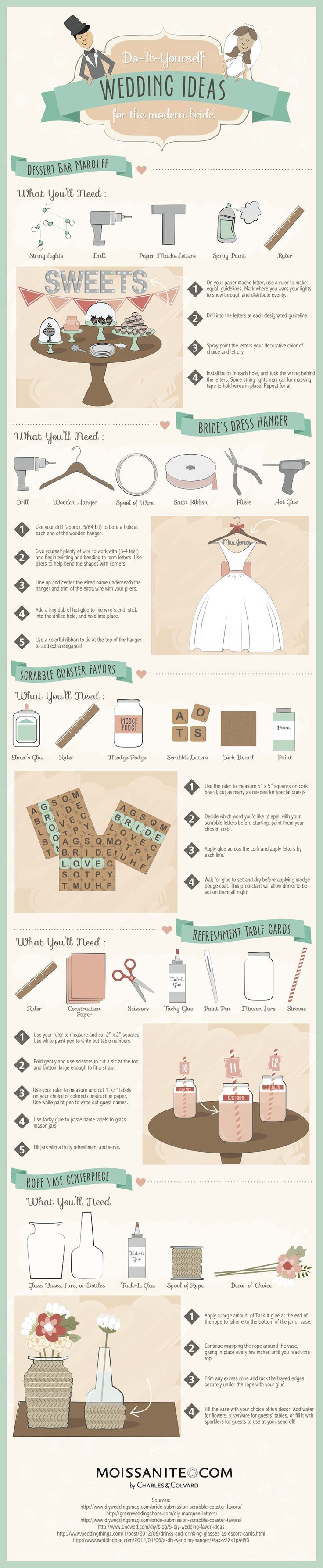 Check out this wedding infographic by Moissanite for some cute and creative money saving wedding ideas!