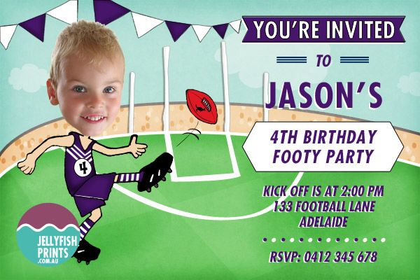 Freemantle Dockers AFL  birthday party invitations. loving the purple and white. Personalised printable invitations available in Australia.