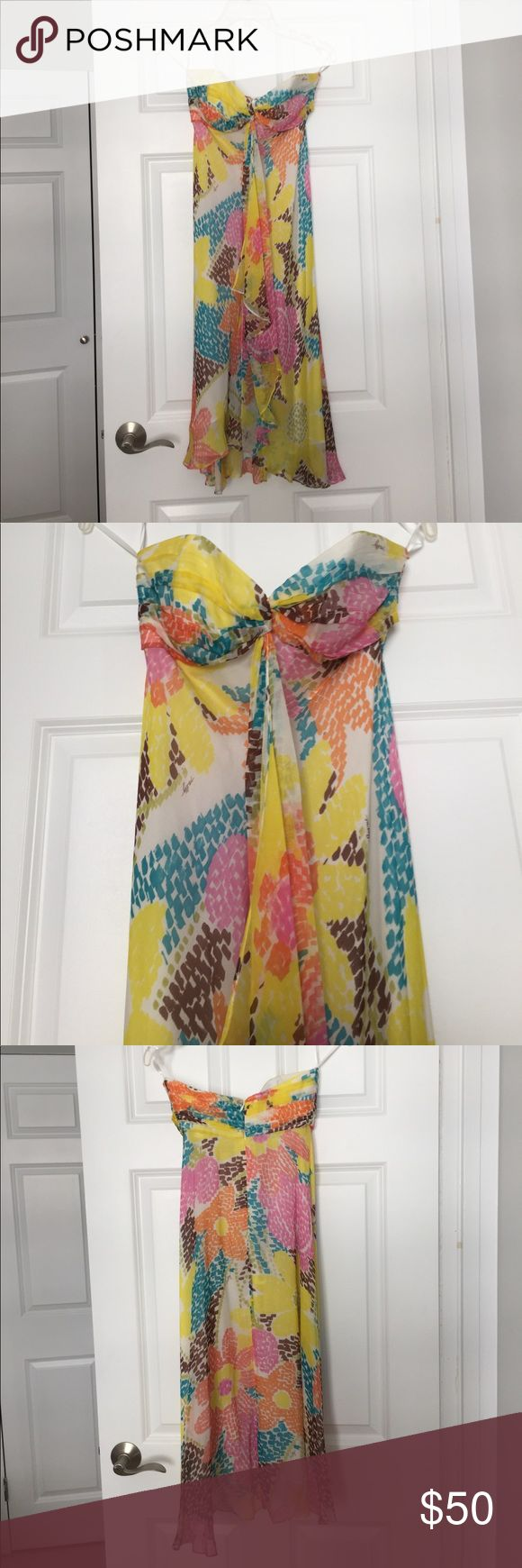Milly multicolor strapless sundress Chiffon midi dress Milly of New York Dresses Midi