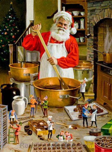 """""""Chocolatiers by Tom Browning depicts Santa preparing batches of chocolate and fudge while ten busy elves assist with the details."""