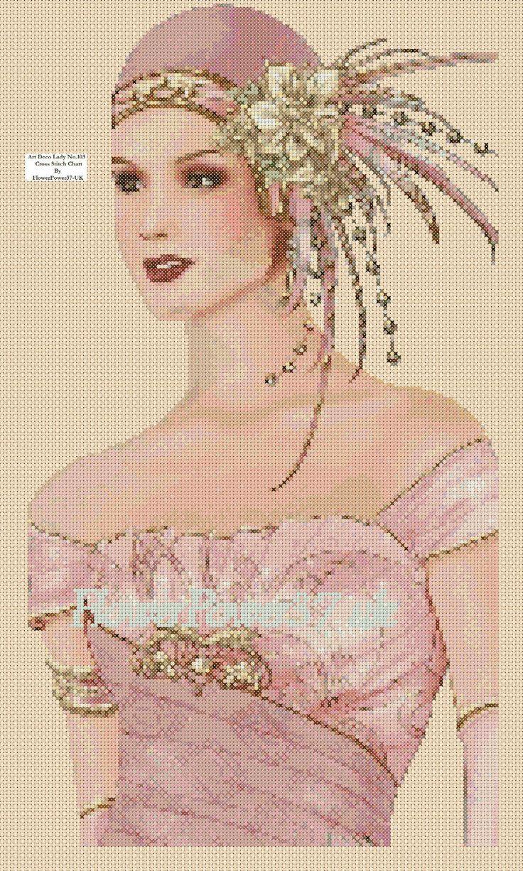 Cross stitch chart Art Deco Lady - No 102 flowerpower37-uk   eBay