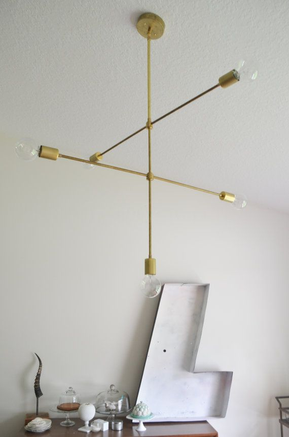 Modern Solid Brass hanging pendant chandelier by triple7recycled, $325.00
