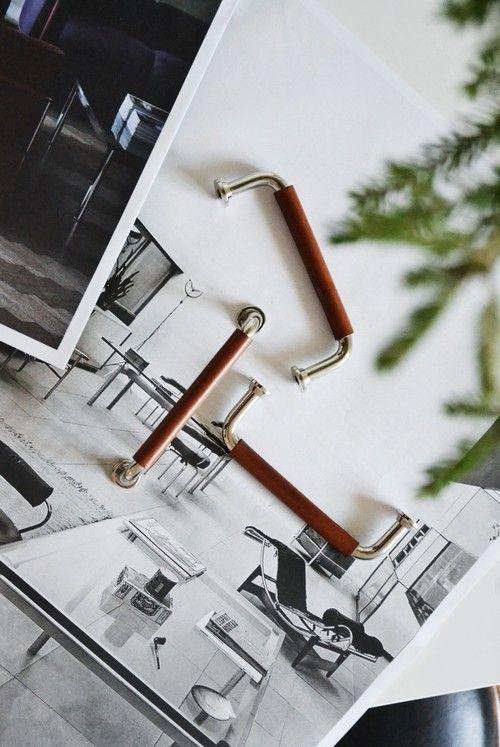 Läderhandtag Bruno Skin 96 - Cognac/Blank nickel