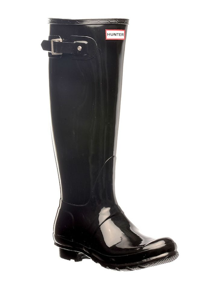 HUNTER-BOOTS | Hunter Original Tall Gloss Boots in Black - Women - Style36