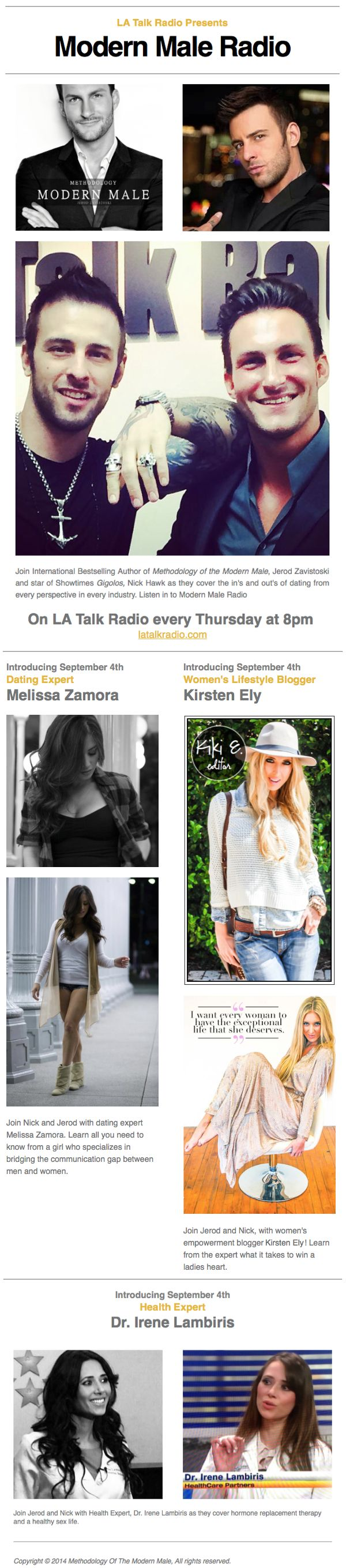 JOIN KIKI E. ON LA TALK RADIO ON 9.4.14 | So excited to represent Blonder Ambitions today on two radio stations! I'll be on KRAZy Country 105.9 at 4pm (a Santa Barbara station) & LA Talk Radio with Jerod Zavistoski & Nick Hawk (www.latalkradio.com) at 8pm... Tune in for opinions and insight on today's dating culture