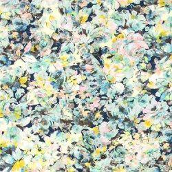 Vävd viscose m gul blomma