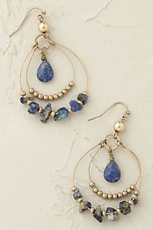 Drop chip and stone earrings