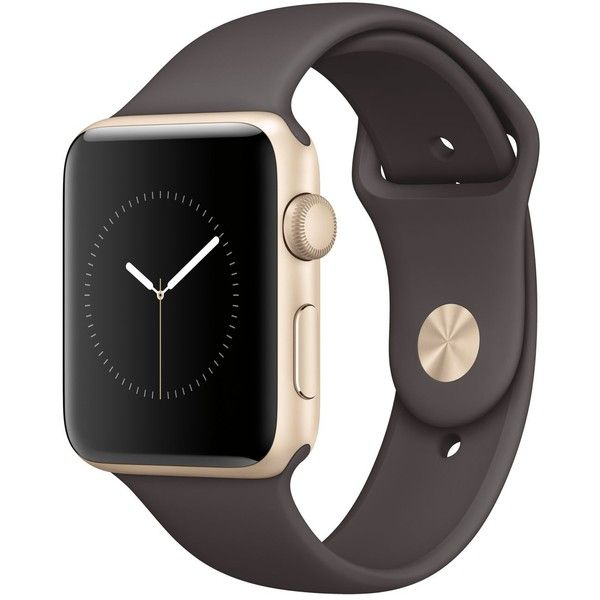 Apple Watch Series 2 42mm Gold-Tone Aluminum Case with Cocoa Sport... ($399) ❤ liked on Polyvore featuring jewelry, watches, accessories, gold, sport watches, sports watches, heart shaped jewelry, stainless steel jewellery and sports jewelry