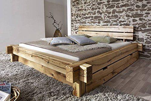 Lit avec tiroirs 160x200cm - Bois massif de chêne sauvage huilé - Design rustique - JANGALI #122