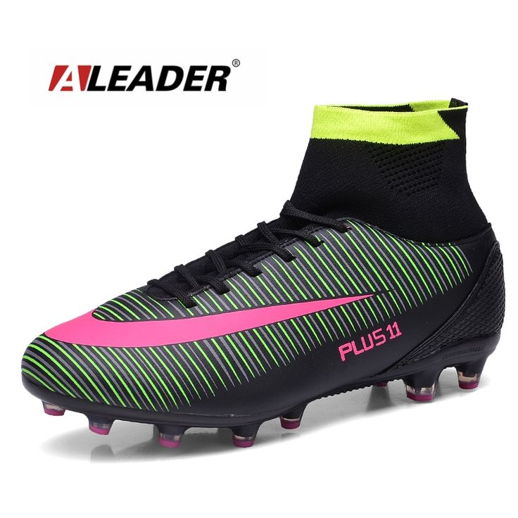(29.99$)  Watch more here  - Aleader Long Spike Men Football Shoes High Top Soccer Shoes Professional Training chuteira futebol botas de futbol con tobillera
