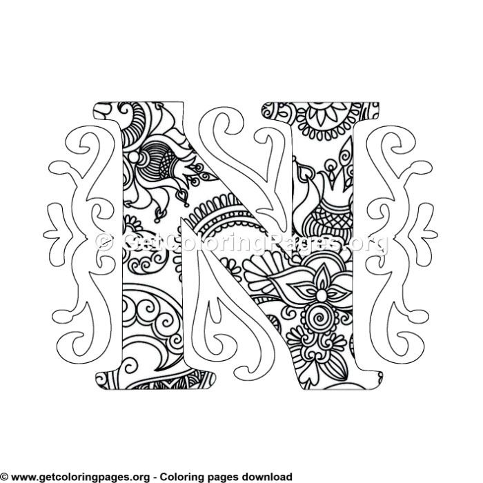 Zentangle Monogram Alphabet Letter N Coloring Sheet Owl Coloring Pages Cute Coloring Pages Unicorn Coloring Pages