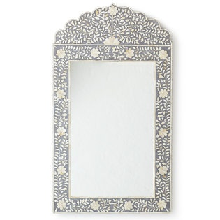 This inlaid mirror in soft grey from Serena & Lily hangs in my sanctuary bathroom.
