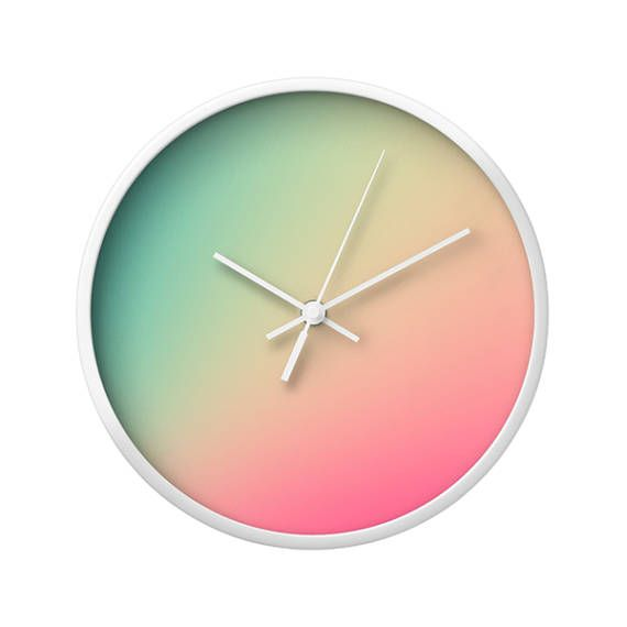 Gradient Ombre Turquoise Pink Wall Clock. Wall Art Abstract