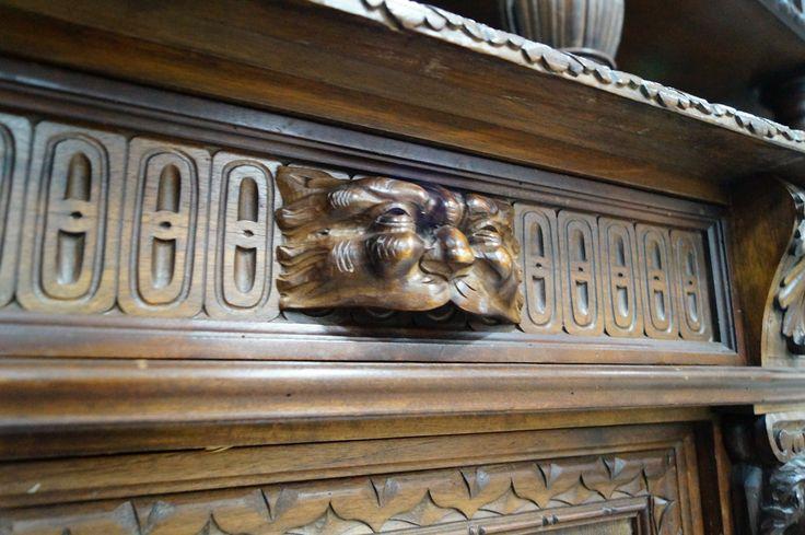 Резьба в стиле неоренессанс, антикварный буфет 19 век, carving, antique, buffet