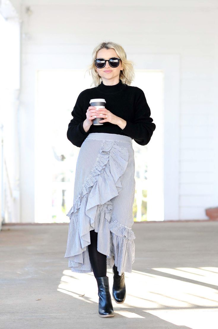 How To Style A Ruffled Skirt In The Winter - Poor Little It Girl