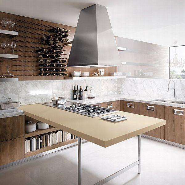 Kitchen furniture in walnut-steel peninsula