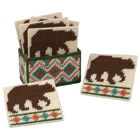 Northwoods Bear Coasters with Holder Plastic Canvas Kit - Herrschners