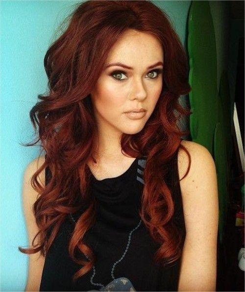 Dark Red Wavy and Curly Hair Color 2015 Trends