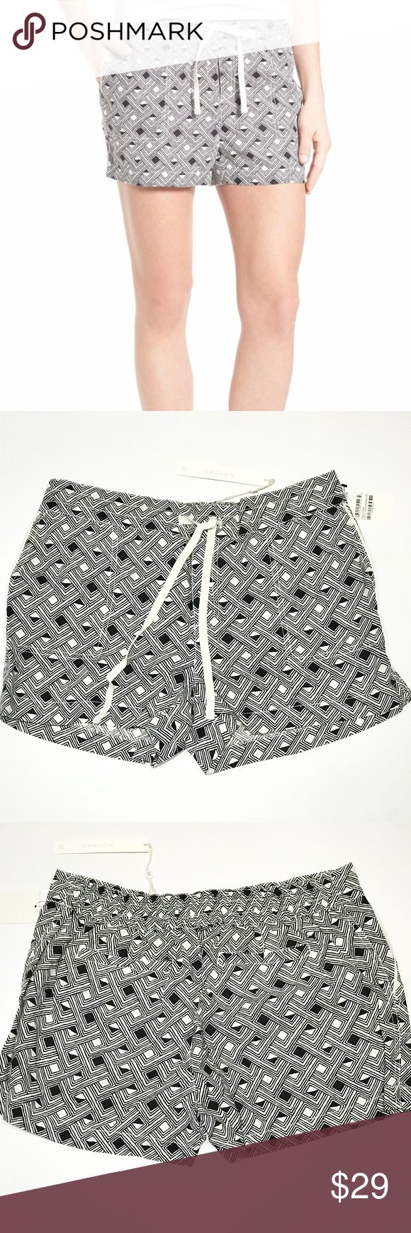 """Caslon 100% Linen Shorts Size Petite Medium A drawstring waist caps off the relaxed ease of linen-woven shorts in an array of geometric prints in shades of black and ivory white. Petite sizes best fit women 5'4"""" & under. - Petite: 32"""" waist; 3"""" inseam; 24"""" leg opening; 10"""" rise; Size: Petite Medium - Pull-on style - Front slant pockets; back welt pockets - 100% linen - Machine wash cold, tumble dry low Caslon Shorts"""