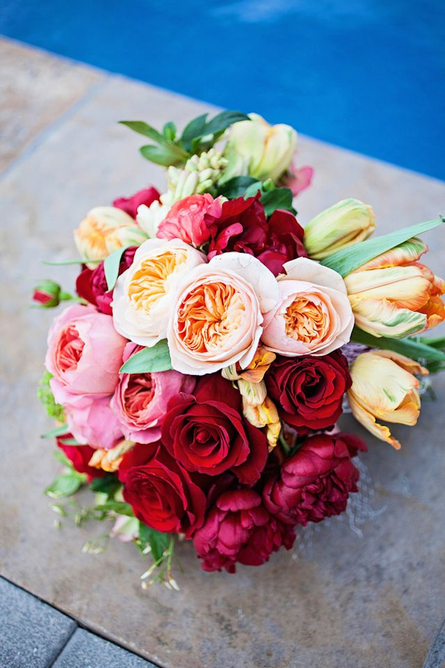 Rose, peony, and tulip bridal bouquet | Urban Safari Photography | see more on: http://burnettsboards.com/2014/09/four-seasons-denver-wedding/