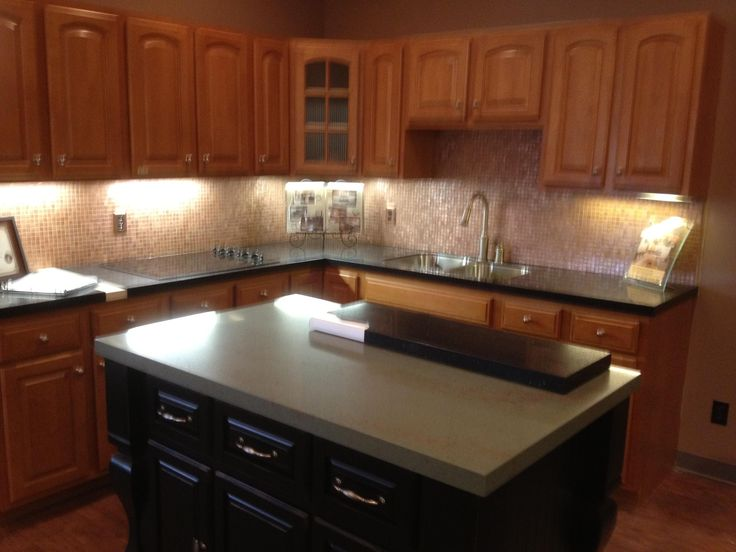 our granite overlay countertops on the island and the