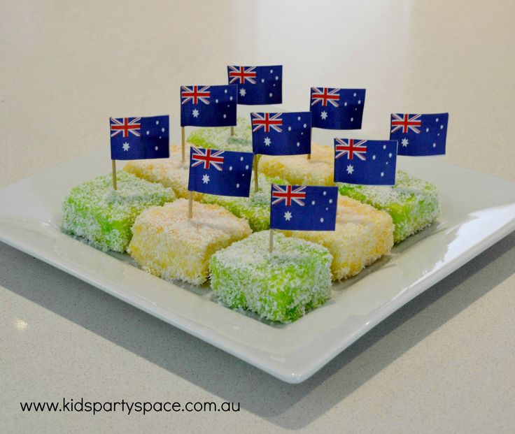 Great Australia Day Food for kids. Green and gold lamingtons.