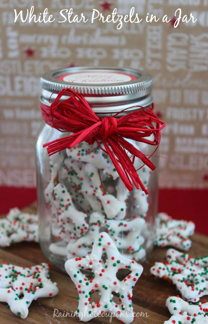 White Star Pretzels in a Jar Gift + FREE Printable Label