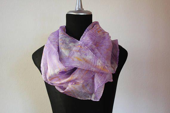 sciarpa seta tinta a mano/stole silk/sciarpa viola/scarf silk hand dyed/foulard silk/ shibori scarf/marble/100%silk